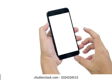 Men's hand using a smartphone isolated on a white background.