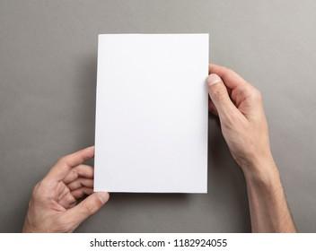 Mens hands holding empty white letterhead on light gray background. Blank paper mock-up