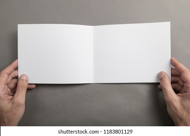 Mens hands holding empty white booklet on gray background. View from above