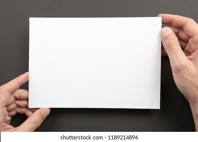 Mens hands holding empty white letterhead on gray background. Blank paper mock-up