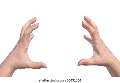 Men's hands trying to grab or hold something isolated
