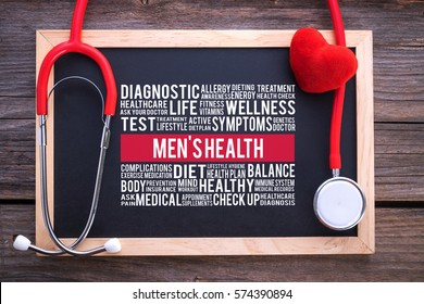MEN'S HEALTH general health word cloud on chalkboard with stethoscope, health concept.