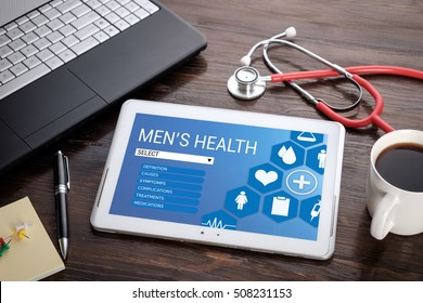 Men's Health on screen tablet pc, health concept. Information technology and mobile application in healthcare/medical.