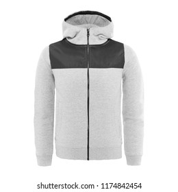 788f6e92 Men's Heather Grey Sweat Hoodies Isolated on White. Front View of Full Zip  Hooded Sweatshirt