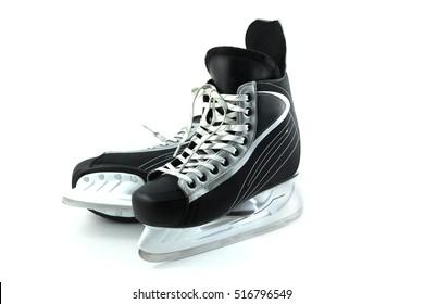 Men's hockey skates on a white background