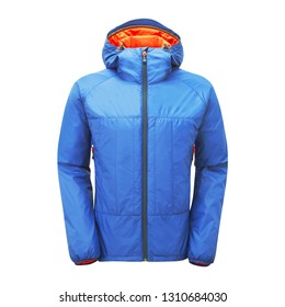 Men's Hooded Winter Jacket Isolated on White. Blue and Orange Winter Coat with Adjustable Hood and Water Resistant. Unisex Warm Hoodie Outwear Cotton Windproof Fabric. Ski Clothing Wear