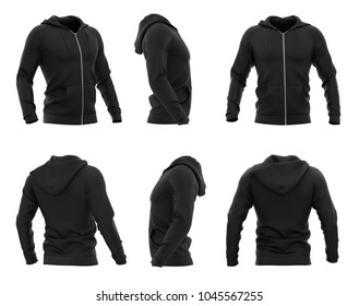 Men's hooded zip-up hoodie. Sweatshirt with pockets. Set of six views. 3d rendering. Clipping paths included: whole object, hood, sleeve, zipper, rope tie. Isolated on white background.