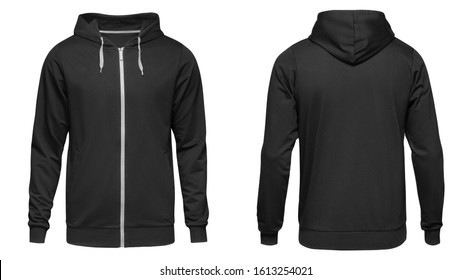 Men's hoodie black with zipper isolated on white background. Blank template hoody front and back view.