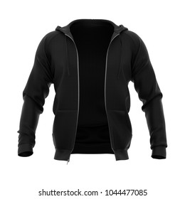 Men's hoodie with open zipper. Black. Front view. 3d rendering. Clipping paths included: whole object, hood, sleeve, zipper. Isolated on white background.