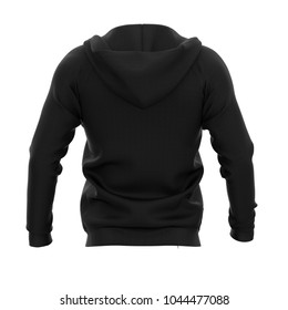Men's hoodie with open zipper. Black. Back view. 3d rendering. Clipping paths included: whole object, hood, sleeve, zipper. Isolated on white background.