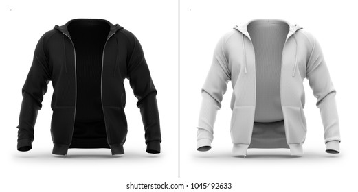 Men's hoodie with open zipper. Front view. 3d rendering. Clipping paths included: whole object, hood, sleeve, zipper. Highlights and shadows mockup template.