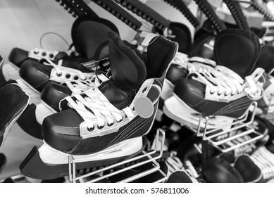 Mens ice hockey skates in store