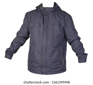 Men's jacket in a hood isolated on a white background. Windbreaker jacket front view. Casual style