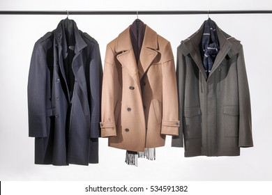 Men's jackets hanging