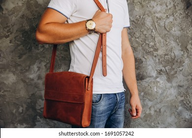 Men's leather bag. Brown men's bag. Men's fashion with brown leather bag.