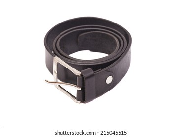 Men's leather belt on white background