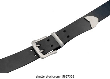 Men's leather  black belt with iron buckle - isolated