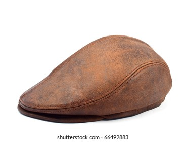 men's leather cap with a white background