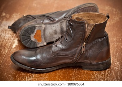 Men's leather fashion shoes. Autumn - spring shoes. Handmade shoes. Vintage style