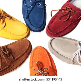 Men's leather loafers. mens shoes - multi colored moccasins