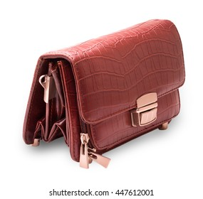 men's leather purse Brown cut out on white background