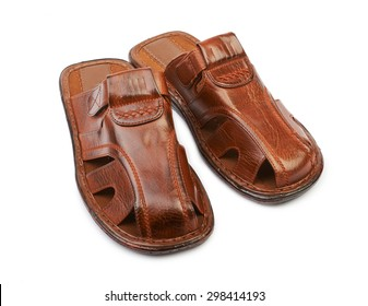 Men's leather sandals isolated on white background
