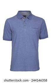 Men's light blue Polo Shirt isolated