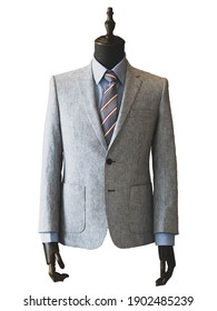 mens light grey jacket with stripe isolated on white. with a clipping path.