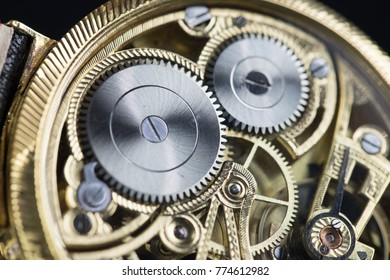 Men's luxury wristwatch on black background