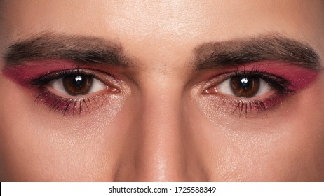 Men's makeup look. Close-up portrait of a young bearded man. cosmetics for men.