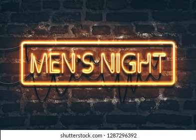 Men`s night neon sign on dark brick wall background