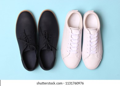 e21107a638 men s office shoes and sneakers on a colored background top view. men s  shoes