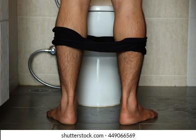 Men's pants in the bathroom