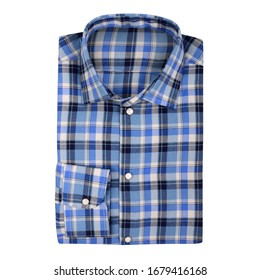 Men's plaid folded shirt with collar