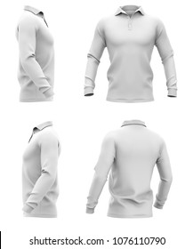 Men's polo shirt with long sleeves. Side, front and half-back views. 3d rendering. Clipping paths included: whole object, collar, sleeve, buttons. Isolated on white background.