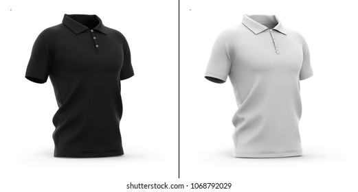 Men's polo shirt with short sleeve. Half-front view. 3d rendering. Clipping paths included: whole object, sleeve, collar, buttons. Highlights and shadows template mock-up.