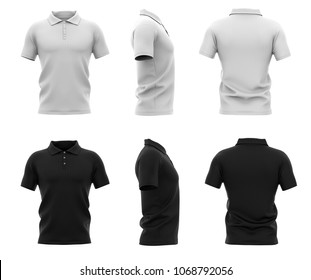 Men's polo shirt with short sleeve. Back, front and side views. Black and white variants. 3d rendering. Isolated on white background.