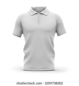 Men's polo shirt with short sleeves. Front view. 3d rendering. Clipping paths included: whole object, collar, sleeve, buttons.
