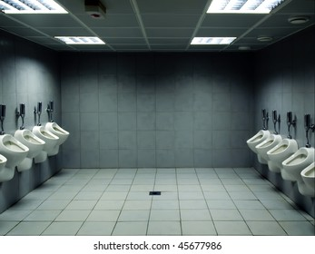 men's public toilet with urinals on both sides
