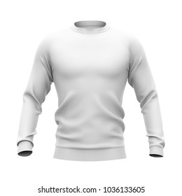 Men's pullover with raglan sleeves and rubber cuffs. 3d rendering. Clipping paths included: whole object, collar, sleeve, cuffs. Isolated on white background.