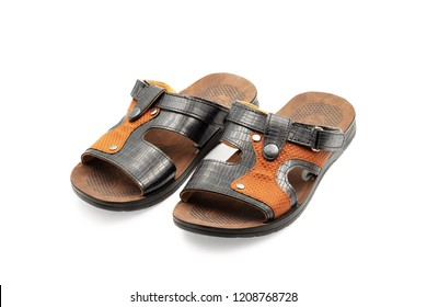 Men's sandals. Close-up. Isolated on white background.