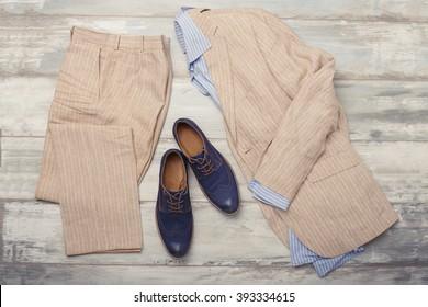 Men's shirt, suit and shoes