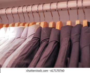 Men's shirts in the closet
