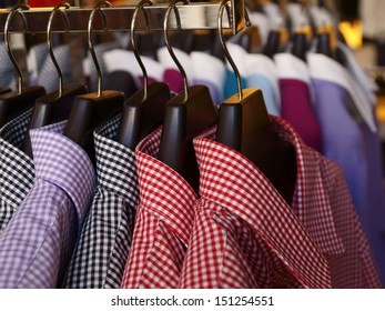 Mens shirts and jumpers in a retail store