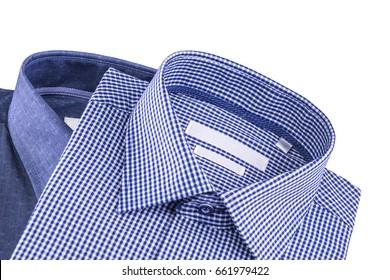 Men's shirts set. Folded on a white background.