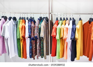 Men's shirts with short sleeves in the clothing store