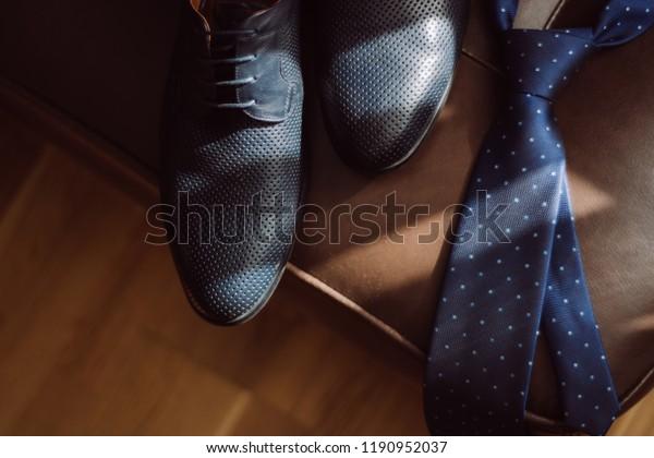 Pleasing Mens Shoes Blue Necktie On Leather Stock Photo Edit Now Ibusinesslaw Wood Chair Design Ideas Ibusinesslaworg