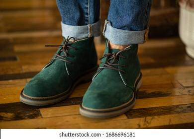 mens shoes closeup, green shoes - Shutterstock ID 1686696181