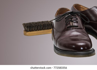 men's shoes with laces and a shoe brush