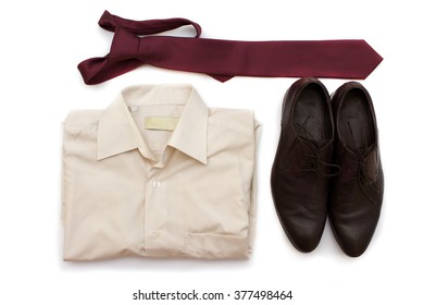 Men's, shoes shirt and tie isolated on white background